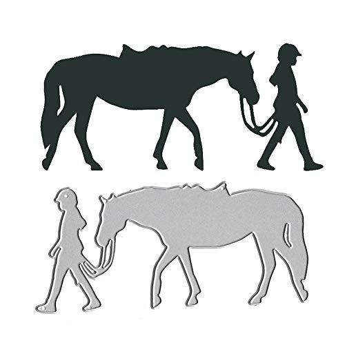 beautijiam Stanzschablone, Cowboy-Mädchen, Pferd, Metall, für Scrapbooking, Prägung, Schablone für DIY Album, Papier, Karten, Dekoration,