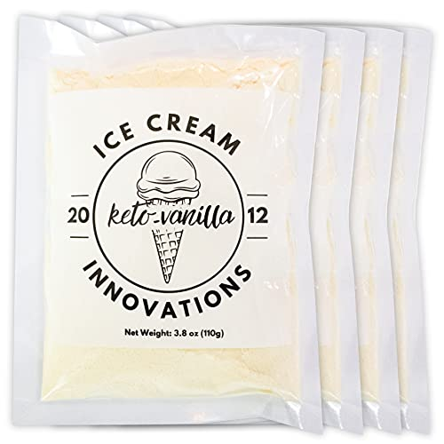 Ice Cream Innovations Sugar-Free Vanilla Keto Diet Homemade Ice Cream Mix, 4.2 Ounce Bags (Count of 4)