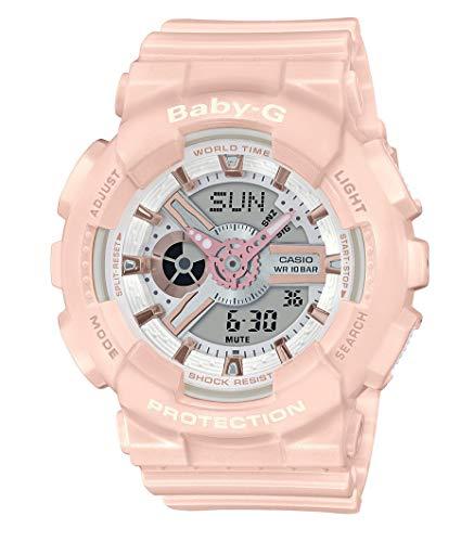 CASIO Damen Analog-Digital Quarz Uhr mit Harz Armband BA-110RG-4AER