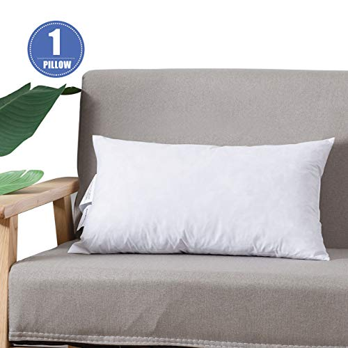DOWNCOOL 100% Cotton Stuffer Throw Pillow Insert, Rectangle Down and Feather Filled Decorative Bed Sofa Insert, 12x20 Inch, White
