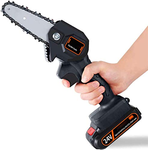 Annzoe Mini Chainsaw 4-Inch Cordless Electric Protable Chainsaw with Brushless Motor, One-Hand 0.7kg Lightweight, Pruning Shears Chainsaw for Tree Branch Wood Cutting (4inch, Black)