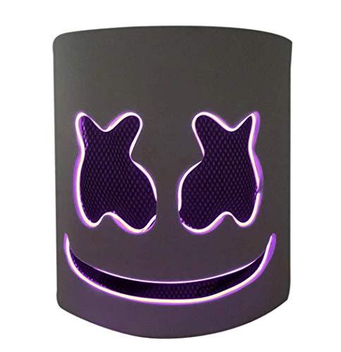 LED Masken DJ Maske Party Bar Musik Cosplay Helm für Kinder Erwachsene Neuheit Kostüm Party, Lila