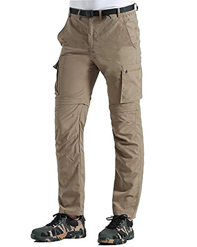 Gash Hao Outdoor Hiking Convertible Pants Mens Quick Dry Water Resistant Cargo Pockets Breathable Lightweight