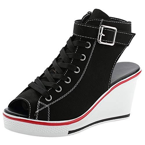 rismart Mujer con Tacon Cuña Sneakers Peep Toe Casual Tenis de Lona Zapatillas SN02511(Negro,37 EU)