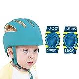 Liltoes Baby Safety Helmet Corner Guard & Proper Ventilation with Kneepad (Royal Blue)
