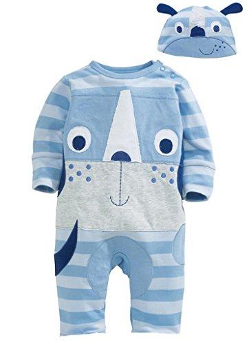 Bigood Imprimé Animaux Pyjama Souple Grenouillère Cartoon Combinaison Chapeau Doux Bleu size90