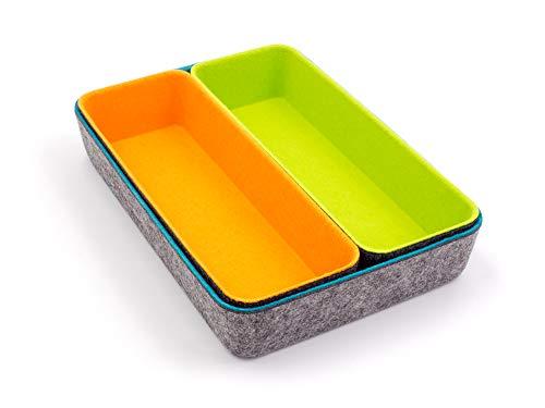 Filz Büroboxen 3er Set, Organizer zur Aufbewahrung von Büroartikeln, Kosmetik, kleineren Gegenständen, Ordnung Zuhause oder im Büro