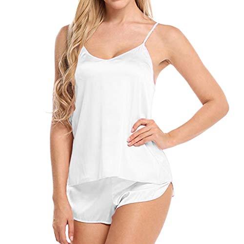 Cotrio Camisola de pijama feminina com decote em V conjunto sexy 2 peças sling tops + shorts pijamas L branco