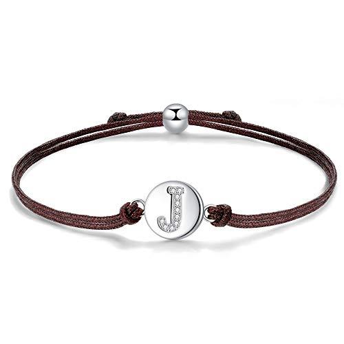 J.Endéar Initial Letter J Bracelet for Women Sterling Silver with Cubic Zirconia, Handmade Jewellery Friendship Gift 24cm Adjustable