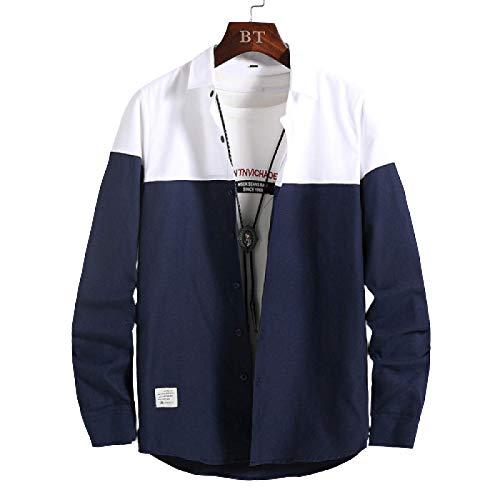 Camisa Casual de Manga Larga con Solapa para Hombre Camisa de Botones Ajustados con Costuras en Contraste de Moda de Corte Regular Trend Streetwear L