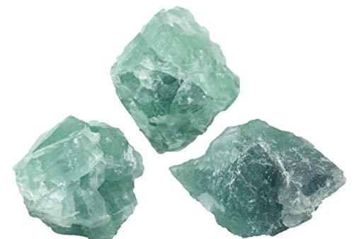 Steinfixx Fluorit grün 3 Stück Rohsteine 1 KG aus Mexiko Heilsteine