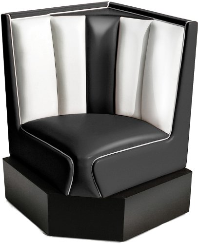 Bel Air Bank Dinerbank Eckbank Sitzbank Einrichtung Gastronomie Dinermöbel Lounge (Black/White)