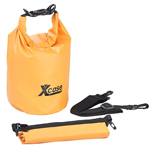 Xcase Badesack wasserdicht: Wasserdichter Packsack, strapazierfähige Industrie-Plane, 5 l, orange (Drybag)