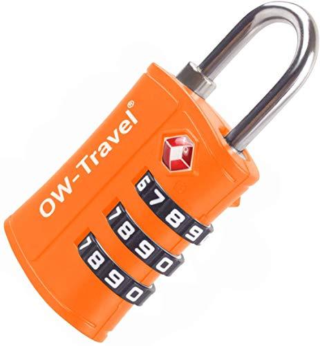 OW-Travel Candado maleta TSA Anti robo. Candado numerico 3 Digitos. Candado Combinacion Taquilla. Candados para mochilas y maletas. Candado Taquilla Gimnasio. Candado seguridad equipaje Naranja 1