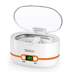limpiador por ultrasonidos,Tacklife-MUC02 Limpiador ultrasúnico 600ml, Mini Limpiador de hogar con 5 programas de tiempo diferentes, es un profesional limpiador de Joyería/Reloj/CD/Gafas y Dientes