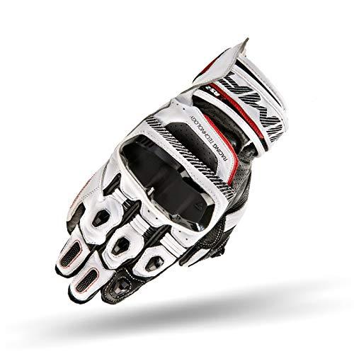 SHIMA XRS 2 PLUS, 2019 Kurze Sportliche Leder Motorhandschuhe mit Touchscreen und CE-Zertifikat, Weiß / XL