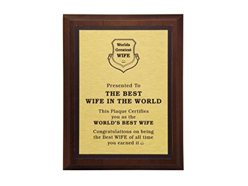 aahs!! Engraving Worlds Greatest Plaques (Best Wife in The World, Gold)