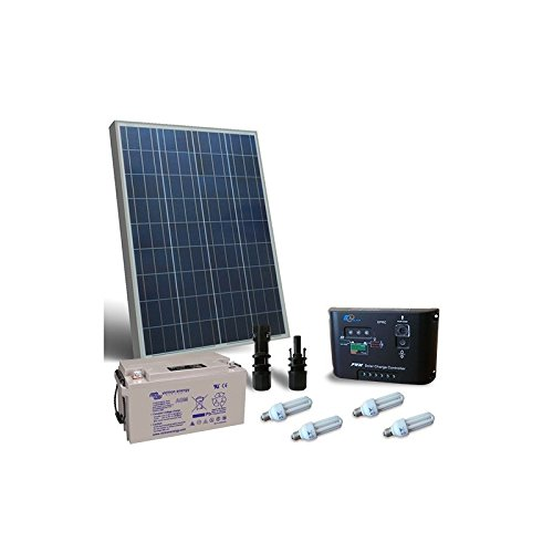 puntoenergia Italia–Kit solar iluminación Fluo 100W 12V para interior fotovoltaico batería 90Ah–ki-100–12-b90-avf