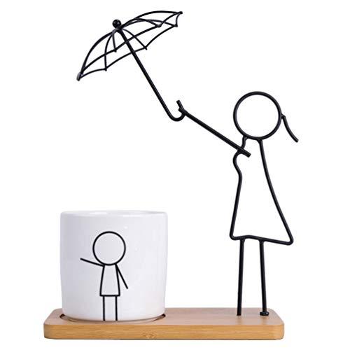 YARNOW Vaso de flores criativo, mini vasos de cerâmica com estatueta abstrata de ferro para pais e filhos, decoração de mesa de escritório em casa moderna (branco, estilo mãe)