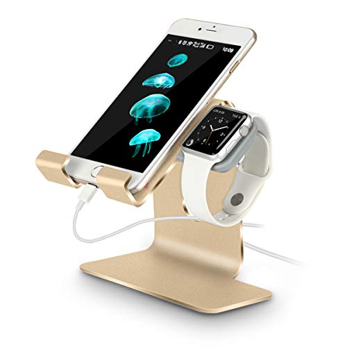 Tranesca 2-in-1 Charging Stand Compatible with Apple Watch Series 5 / Series 4 / Series 3 / Series 2 / Series 1 (38mm/40mm/42mm/44mm) and iPhone (Gold-Must Have Apple Watch Accessories)