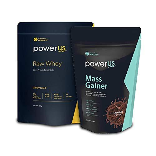 Powerus Raw Whey Protein Powder, 1kg and Mass Gainer Powder, 1kg (Chocolate)