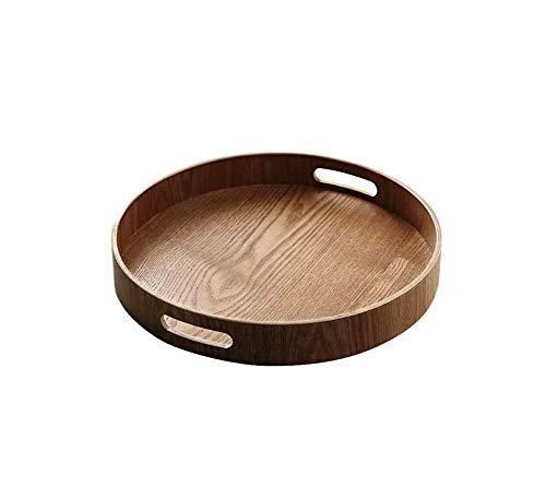 N A Bandeja Redonda de Madera de bambú para bandejas de Cena Barra de té Desayuno, 6 Piezas