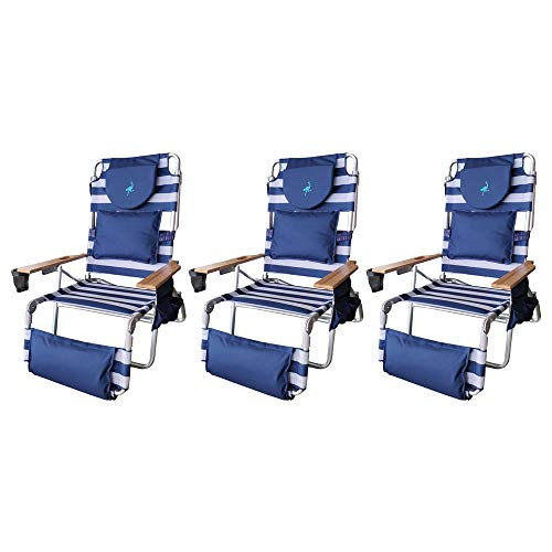 Ostrich Deluxe Padded 3-N-1 Outdoor Lounge Reclining Beach Chair, Blue (3 Pack)