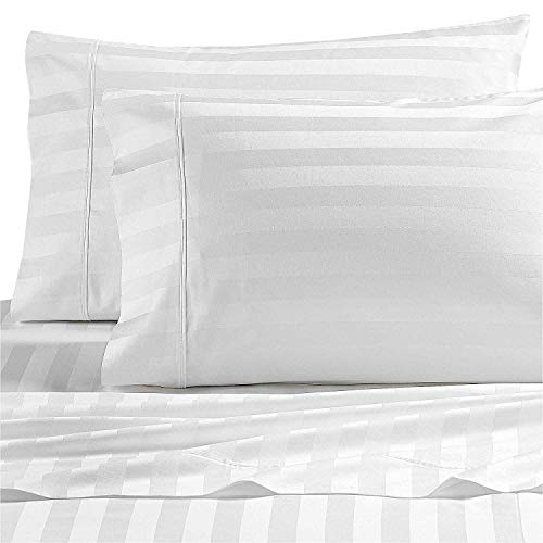 Wamsutta Dream Zone Stripe 1000-Thread-Count PimaCott King Sheet Set in White