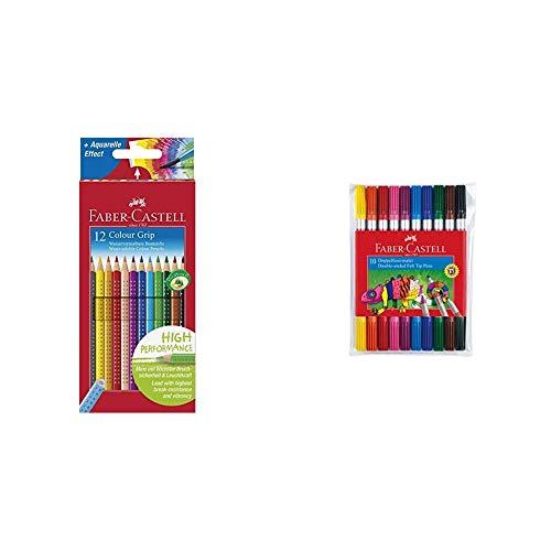 Faber-Castell 112412 - Buntstifte Colour Grip, 12er Kartonetui & 151110 - Doppelfasermaler, 10er Etui, 1 Stück