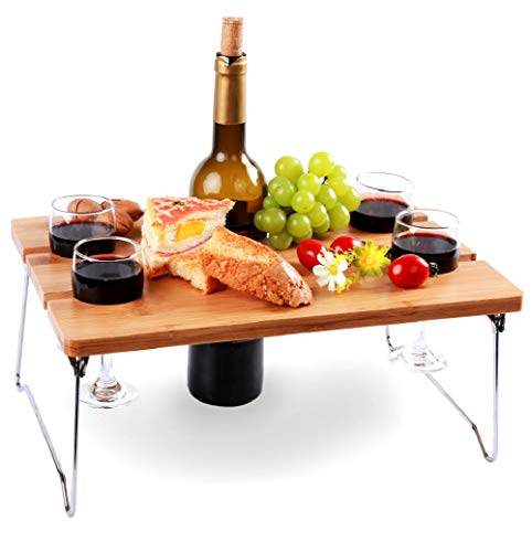 Portable and Foldable Wine and Snack Table for Picnic Outdoor on The Beach Park or Indoor Bed for 2...