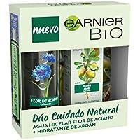 Garnier Bio - Cofre Rutina: Crema Hidratante Nutritiva con Aceite de Argán y Ácido Hialurónico (50 ml) y Agua Micelar con Agua de Flor de Aciano (400 ml)