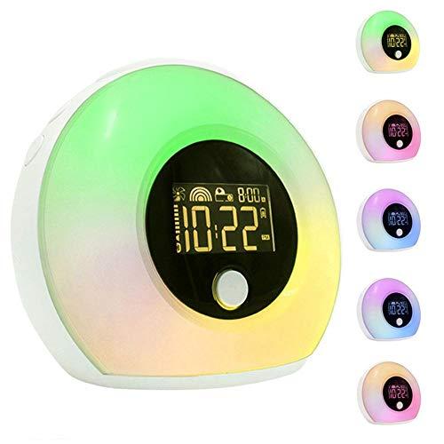 Despertador despertador ligero con el altavoz Bluetooth, simulado amanecer y al atardecer naturaleza de despertador colorido de la música del sueño luz de noche para habitaciones