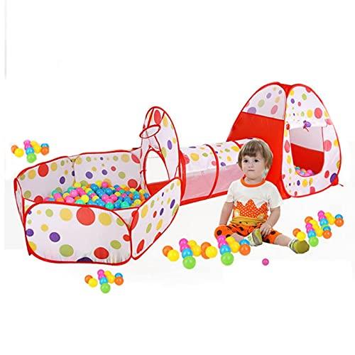 Kids Play Tunnel Tent, Carpa 3 En 1 1.3Kg Playhouse Crawl 51X50x8cm Carpa De Juego Emergente, con Piscina Bolas,Playa Verano Y Niñas Juguetes para Niños Pequeños Interior Al Aire Libre