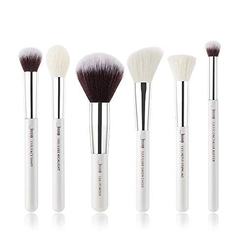 Jessup Brand - Juego de 6 brochas de maquillaje de color blanco perla/oro rosa cosm¨¦tico base de maquillaje mejillas Contrasti maquillaje en polvo Kit/Set blanco plata T244