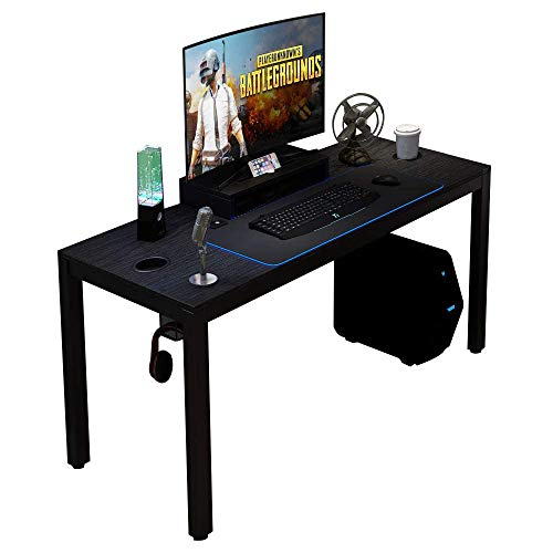 Need Gaming Desk All-in-one Gaming Computer Desk with RGB LED Mouse Pad 60 inches Game Table, Black AC14PRO-15260-CB