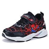 YICHUAN Spiderman Ragazzi Mesh Sneakers con Fondo Morbido Scarpe da Corsa Leggere Antiscivolo per Bambini,Black-35EU