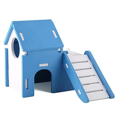DEWIN Hamster House Cage, Lindos escondites de Madera para Dormir de Doble Capa con tobogán para Juegos(Azul)
