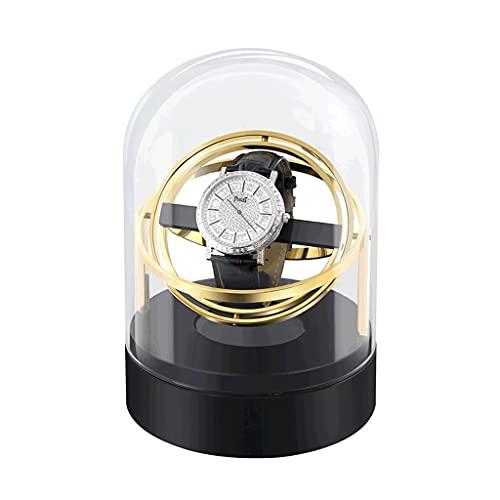 Enrollador automático de reloj único para caja de almacenamiento de coleccionista, se puede utilizar con relojes tanto para hombres como para mujeres (color: capa de metal dorado)