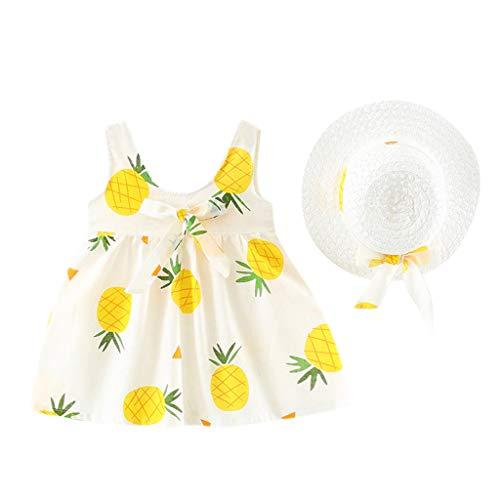 Fossen Ropa Bebe Niña Verano - Conjuntos de Dos Piezas Princesa Vestido sin Mangas con Estampado de Piña + Sombrero de Paja para Recien Nacido 0 a 24 Meses