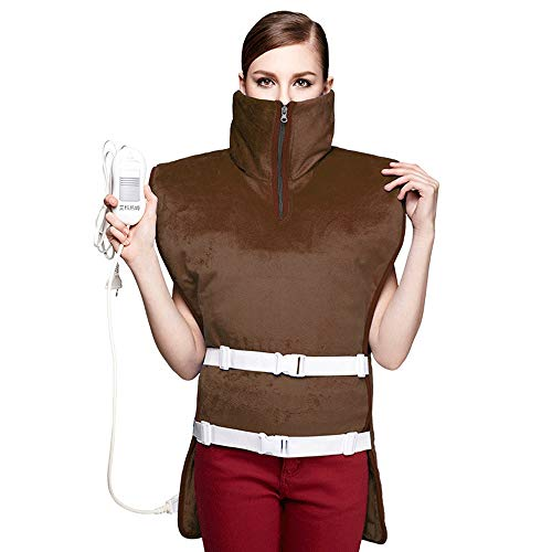 Heated Shawl, Electric Heating Blanket Shoulder Cape,3 Adjustable Temperatures Timing Function Help Relieve Pain in Joints for Car Office Home Travel - Machine Washable (Color : Brown)