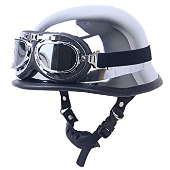 DOT Motorcycle Half Helmet Approved German Style Vintage Open Face Crusier Helmet Cap with Pilot Goggles Mirror Silver Chrome Chopper Scooter Crash Retro Moped Moto Helmets  Medium