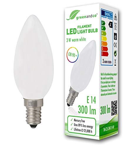 Bombilla de filamento LED greenandco® IRC 90+ E14 opaca 3W (corresponde a 28W) 300lm 2700K (blanco cálido) 360° 230V AC vidrio, sin parpadeo, no regulable