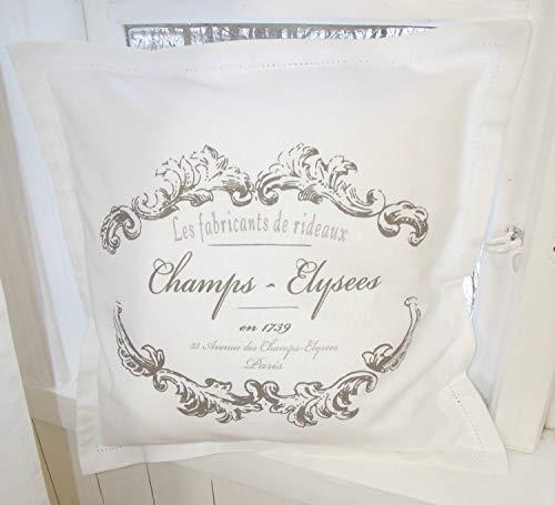 LillaBelle Kissenbezug Elegance weiß Shabby Vintage 45x45 cm Baumwolle Nostalgie Landhaus Zierkissenbezug Kissenhülle