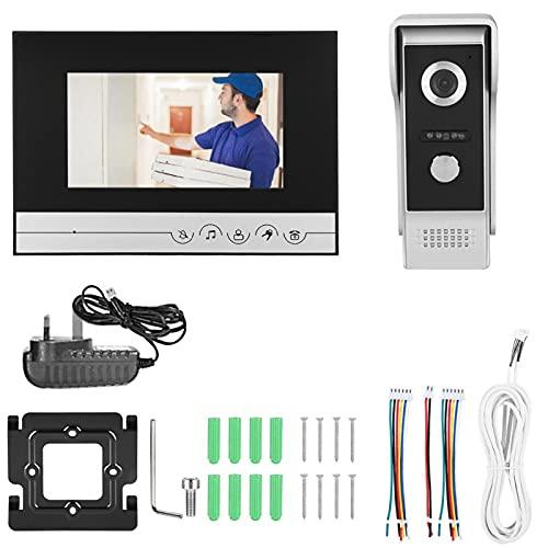 Timbre con Video, intercomunicador de Llamada con un Toque, videoportero, teléfono con videoportero, Pantalla LCD TFT a Color para Seguridad en el hogar(British Standard 100-240V)