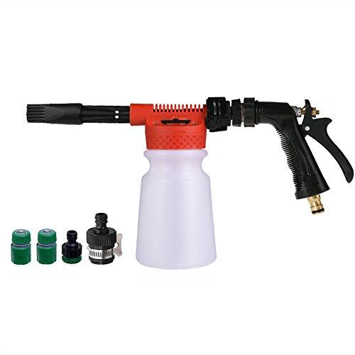 CG CARGOOL Profi Schaum Waschpistole Autowäsche Lanze Flasche Einstellbare Schaum Blaster Niederdruck Schnee Foamer Für Auto-Motorrad-Garten-Reinigung, 900ML