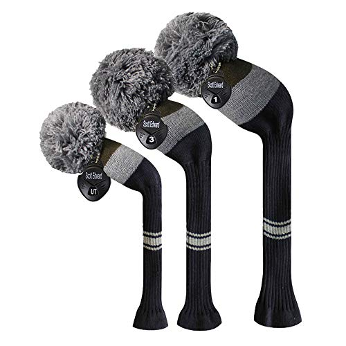 Rey Pom Pom Olive Grey Navy Stripes Knitted Golf Headcover Set of 3 for Driver Fairway and Hybrid