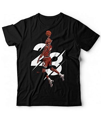 Generico T-Shirt Uomo Michael Jordan Hoop - Campioni Basket NBA Pallacanestro 23 Tunes (Nero, XL)