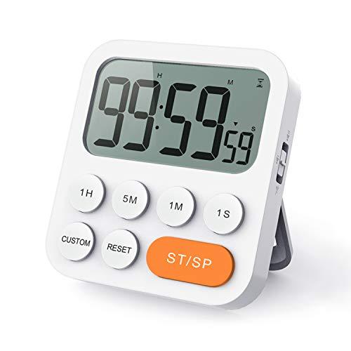 LIORQUE Digitaler Küchentimer Magnetisch Stoppuhr Timer mit Uhr, Magnet, 3-stufiger Lautstärke, LCD Anzeige für Kochen, Sport, Studieren, Orange