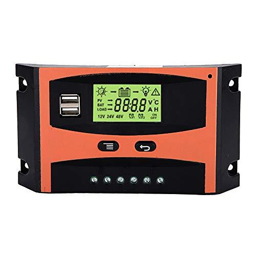 Regulador de carga solar MPPT 12/24V Regulador de panel solar con pantalla LCD Controlador de pantalla Controlador automático de batería Universal(60A)