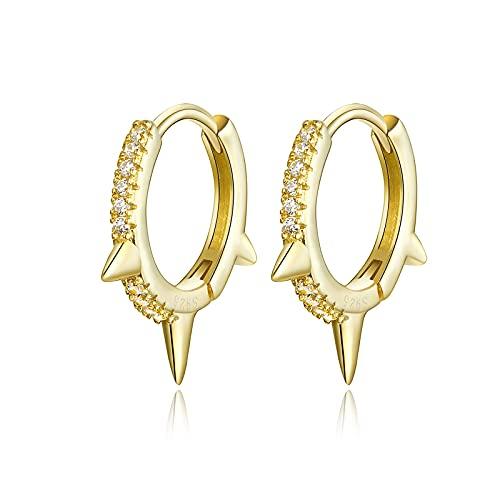 HMMJ Pendientes de aro para Mujer, hipoalergénicos S925 Plata Chapado en Oro Real Remaches geométricos Irregulares Piercings Joyería BSE168